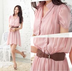 Apparel :: Women :: Dresses :: One-piece Dresses :: Korea Summer Fashion Waist Puff Sleeve Chiffon Dress With Girdle - Pink - 112304-2 - TuttiStyle :: wholesale online asian clothing store - women dresss skirt tube top blouse t-shirt hoodie jacket