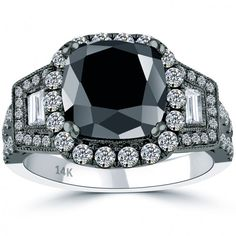 4.60 CT.Cushion Cut Black Diamond Engagement Ring 14k Black Gold Vintage Style - Thumbnail 1