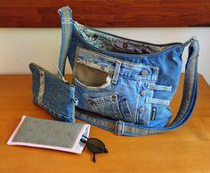 ensemble sac bandoulière, sa pochette et son étui à lunettes en jean's et coton : Sacs bandoulière par com3pom
