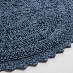 Round Vintage Indigo Cotton Bath Mat | World Market
