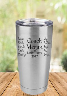 $22 Engraved Coach Tumbler, Coach Gift Item, Unique Coach Gift, 20oz or 30oz tumbler, Engraved Tumbler, Custom Coach Gift, Coach Cup #cheerleading #ad Cheerleading Gifts, Cheer Gifts, Team Gifts, Coaching Volleyball, Volleyball Ideas, Life Coach Quotes, Team Bonding, Coach Gifts, Team Names