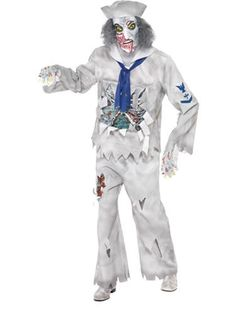 The Adult Zombie Sailor Halloween Costume includes a tattered grey shirt with ribcage and rotted green flesh. Horror Costume, Joker Costume, Sailor Halloween Costumes, Halloween Zombie, Halloween Party, Zombie Fancy Dress, Kids Dress Up Costumes, Navy Costume, Zombie Walk