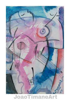 CORPO ( casal de músicos )  Pintura de João Timane. Artista plástico Moçambicano.   Fb: JoaoTimaneArt