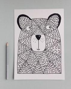 NEW Marmalade Bear, Hand Screen-Printed Print, Printed with Eco-Friendly Inks Drawing For Kids, Art For Kids, 2nd Grade Art, Kindergarten Art, Winter Art, Art Classroom, Linocut Prints, Art Club, Art Activities