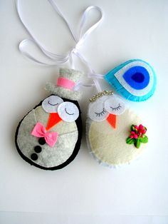 Owl car ornament just married owls by Lilamina on Etsy, $20.00