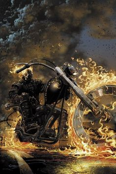 Ghost Rider: the Road to Damnation # 1 RRP Variant, by Clayton Crain. I hated the Ghost Rider movies. Not just because Nick Cage screwed them both up, but because they took all the potential and just. Comic Book Characters, Comic Book Heroes, Comic Character, Comic Books Art, Comic Art, Marvel Comics, Marvel Vs, Marvel Heroes, Poster Marvel