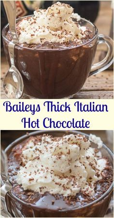 Thick Italian Hot Chocolate Baileys Thick Italian Hot Chocolate, an easy Italian Hot Chocolate Recipe, creamy and delicious made with real chocolate. This is the perfect comfort recipe for the cold winter months! Italian Hot Chocolate Recipe, Hot Chocolate Bars, Chocolate Baileys, Hot Chocolate Recipe With Chocolate, Best Hot Chocolate Recipes, Spiked Hot Chocolate, Hot Cocoa Recipe, Mexican Hot Chocolate, Chocolate Morsels