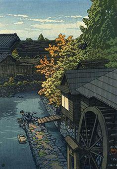 "Japanese Art Print ""Kasaimachi in Tochigi Prefecture"" by Kawase Hasui. Shin Hanga and Art Reproductions http://www.amazon.com/dp/B01DSNH7YW/ref=cm_sw_r_pi_dp_wd5dxb0M0PR66 Hiroshi Yoshida, Art Occidental, Art Chinois, Japanese Illustration, Illustration Art, Shin, Chinese Art, Traditional Art, Asian Art"