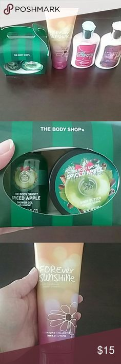 Lotion & The Body Shop Set (See Description) (Firm Price) Bath & Body Works Bundle & The Body Shop Set you will get a spiced apple shower gel and Body butter in the set the body wash is 60ml and Body butter is 50ml this set is new,Bath & Body Works Forever Sunchine lotion new 8oz,B&B Works Lotion Berry Flirt this was used a couple of times refer to picture were I'm pointing to how much is left 8fl oz and last B&B Twilight Woods lotion new 8fl oz Bath & Body Works /The Body Shop Other