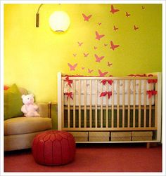Nursery, opposite wall of the bold stripes.  Not sure if I would just do white wall with colored stencils or red wall with black or white stencils.  Hmmmm....