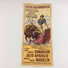 """Vtg Plaza De Toros Monumental Bullfighting Tapestry Poster Bull Matador 26x12"""" #Vintage"""