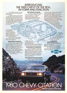 1980 Chevrolet Citation original vintage advertisement. First year and model for the expensive X-body chassis developed by GM in the late 1970's.