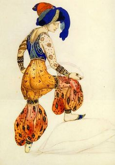Costume design for the ballet Blue Sultana Scheherazade by Léon  Samoilovitch Bakst