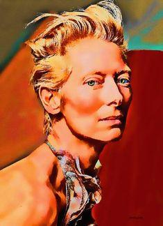 Original Celebrity Painting by Acqua Luna Tilda Swinton, Original Paintings, Original Art, Ethereal, Art Images, Artwork Online, Saatchi Art, Canvas Art, Cinema