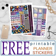"""Free Printable """"Night on the Sun"""" Planner Stickers from DIXIESEOUL Free Planner, Happy Planner, Planner Diy, Planner Supplies, Planner Ideas, Printable Planner Stickers, Mambi Stickers, Free Printables, Free Stickers"""