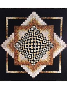 """Convex Illusions Quilt Pattern ~ very easy ~ uses strip piecing and simple construction techniques ~ combination of shapes and shades creates a dramatic 3D optical illusion ~ finished size 60"""" x 60"""" ~ PURCHASED pattern - QUILTING"""