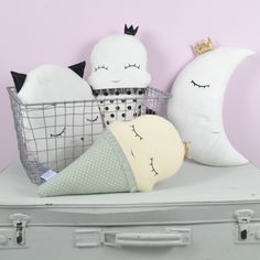 Icecream, cat and Moon pillows.