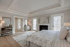 Transitional Master Bedroom with Hoxton Floral-Print Duvet Covers, White Oak Winter White Solid Hardwood Plank