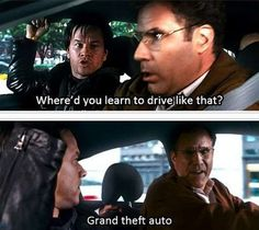 Grand Theft Auto, Fan Art, PC, Xbox One, Playstation. Driver's Ed with Will Ferrell would be so much fun! Hit the image for MORE Hilarious Car Memes' Gta Funny, Funny Car Memes, Car Humor, Car Jokes, Funny Cars, Memes Humor, Movie Quotes, Funny Quotes, Tv Quotes
