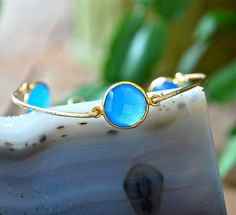 Blue Chalcedony Gold Bracelet by JLaurynDesign on Etsy, $52.00