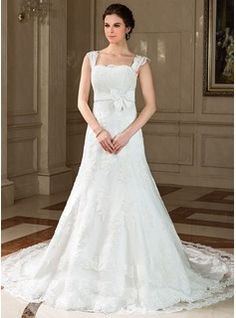 Wedding Dresses - $231.99 - A-Line/Princess Square Neckline Chapel Train Satin Tulle Wedding Dress With Lace Bow(s)  http://www.dressfirst.com/A-Line-Princess-Square-Neckline-Chapel-Train-Satin-Tulle-Wedding-Dress-With-Lace-Bow-S-002011757-g11757
