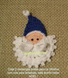 Applique for a childs sweater... OFICINA DO BARRADO: CROCHE - PAP Noel Azul ...