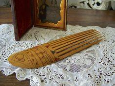 Antique Hair Comb Bamboo Victorian Hair Pick by cynthiasattic