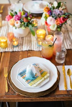 Colorful boho tabletop