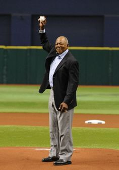 Hall of Famer Tony Olivas throws out a ceremonial first pitch before play against the Tampa Bay Rays April 22, 2012