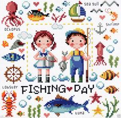 """Let's go fishing"" Counted cross stitch chart. SODAstitch SO-3186"