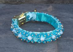 Items similar to Tropical Aqua Luxury Dog Collar Hand Beaded with Aqua Blue and Milky White Glass Beads on Etsy Gold Glass, Faceted Glass, Glass Beads, Luxury Dog Collars, Touch Of Gold, Dog Boarding, Homemade Dog, Aqua Blue, Dog Training