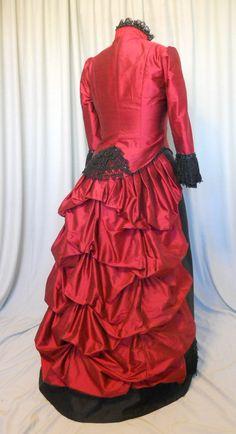 Red bustle dress.