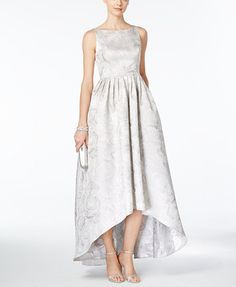 Adrianna Papell Floral-Jacquard High-Low Gown   macys.com