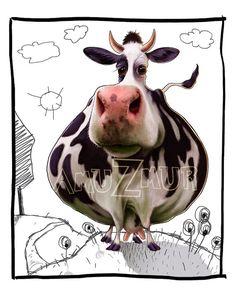 Digital art print, digital painting, children room, cow, animal, wall art, poster, gift, home decor, original illustration, poster, artwork