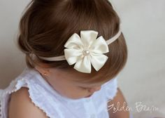 Baby Flower Headband - Ivory Satin Petal Flower Handmade Headband by GoldenBeam on Etsy