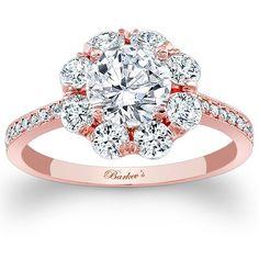 Barkev's 14K Rose Gold Flower Halo Diamond Engagement Ring