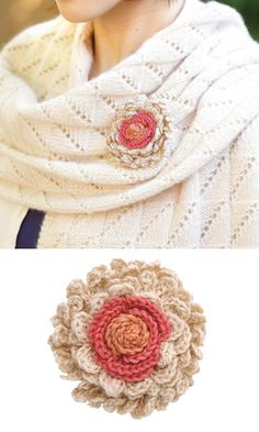 Crochet flower/corsage - free Japanese diagram pattern using standard crochet symbols.
