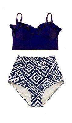 5565094fd3 Navy Blue Underwire Midkini Top and Graphic High Waisted Waist Bottom Women  Womens Swimsuit Bikini Swimwear
