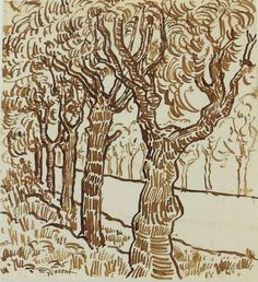 Pen and brown ink on laid paper, tree-lined road, signed (Vincent van Gogh*, 7 x 6 inches. on Jan 2018 Van Gogh Drawings, Van Gogh Paintings, Ink Pen Drawings, Abstract Paintings, Artist Van Gogh, Van Gogh Art, Landscape Drawings, Landscape Art, Sunflower Sketches