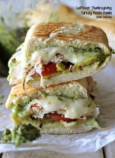 Leftover Thanksgiving Turkey Pesto Panini - This loaded panini is one of the perfect ways to use up your leftover Thanksgiving turkey! You control the cheese and pesto to make it lower calorie and lower fat. Food For Thought, Think Food, I Love Food, Gourmet Sandwiches, Turkey Sandwiches, Sandwich Recipes, Turkey Panini, Chicken Panini, Panini Sandwiches