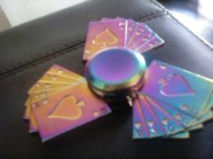 Rainbow playing cards fidget spinner 10,Jack,Queen,King and Ace of spades If you like it,remember to follow me or leave a comment!