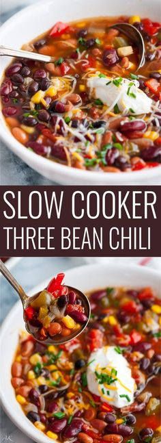 Slow Cooker Three Bean Chili - A hearty, make ahead vegetarian chili that's delicious any time of year. Skip the garnishes for a tasty vegan dish!