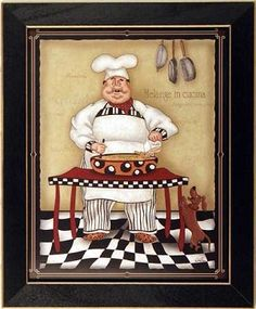 Fat Chef 2 Pasta Dog Kitchen  Art Print Framed
