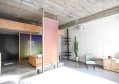 The pink door slides along a track providing coverage where needed. via A Pink and Green Bath in Amsterdam, Japanese Soaking Tub Included: Remodelista