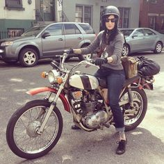 Corinna Mantlo on her 1971 BSA Victor that she'll be racing on behalf of the Miss-Fires with team Hell Bound and Down (site) at the Norra vintage Baja 500 this October in Mexico! Corinna does awesome motorcycle seat upholstery and also helps. Motorcycle Seats, Lady Biker, Motorbikes, Mexico, Racing, Motorcycles, Upholstery, October, Vroom Vroom