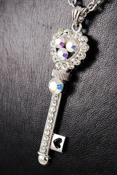 Crystal key pendant necklace.  $18.00