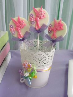 Pretty pops at a butterfly garden fairy birthday party! See more party ideas at CatchMyParty.com!