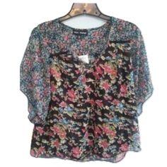 "Mason + Mackenzie Sz XL Boho Flowy Floral Top Size XL Multi Color Short Sleeve Semi Sheer 100% Polyester Bust 38-40+ Length 27"" Boho NWOT Mac + Mackensie Tops Blouses"