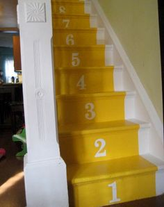 numbered stairs would be a great way of teaching the kids counting..If I used stickers then I could just take them off...Maybe I should do times tables for the big kids! Haha!