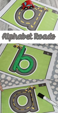 Printable alphabet roads for letter formation and letter recognition. Toddler Learning Activities, Preschool Literacy, Preschool Education, Alphabet Activities, Literacy Activities, Toddler Preschool, Kindergarten Readiness, Homeschooling Resources, Teaching Resources